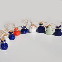 Wholesale Birthday Wishes Gifts - Blue Green White Mini Ceramic Vials Perfume Bottle Wish Bottle Pendant Necklace Girls Favor Birthday Gift 10pcs lot P085