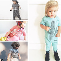 Wholesale 4 Design INS Baby Romper Suit Cotton Short Sleeve Letters Striped Printing Rompers Boys Girls Costumes Toddlers BodysuitsTights Sets