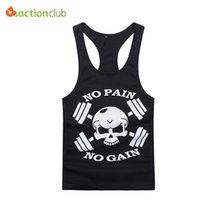 Wholesale Clothes Professional Sexy - Wholesale- Men Professional Models Tank Tops Strong Man No Pain No Gain Vest Man's Cotton Casual Skull Tank Clothing