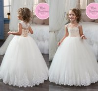 Wholesale Cute Corset Flowers - Cute Lovely White Ball Gown Tulle Flower Girls Dresses Crew Neck Lace Appliqued Kids Formal Wear First Communion Dresses Corset Back