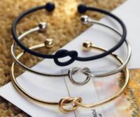 Wholesale Gold Open Cuff Bracelet - New Fashion Original Design Simple Copper Casting Knot Love Bracelet Open Cuff Bangle Gift For Women free shipping