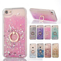 Wholesale Customized Rings - Bling Liquid Case For iPhone X 8 7 Quicksand Dynamic Ring Holder Cases TPU Frame Cover For iPhone 6 6S 7 Plus