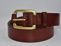 ceinture marron achat en gros de-Gladyoung livraison gratuite végétale tannée en cuir marron laiton aiguille boucle ceintures pour hommes 3,8 cm de large