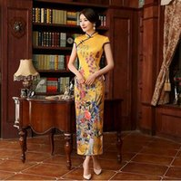 Wholesale Oriental Print Dress - 2017 New Long Cheongsam Dress Modern Qipao Dress Sexy Chinese Dresses Chinese Traditional Dress Vestido Oriental Qi Pao