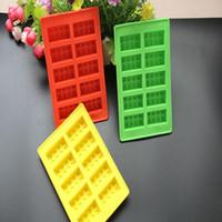 bandejas de bloques de hielo al por mayor-Silicona LEGO Ladrillo Estilo Congelador Bandeja de Cubitos de Hielo Molde de Hielo Bar Fiesta Fiesta DIY Bloque de Construcción de Bloques de Construcción Sharped 100 unids