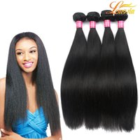 Wholesale Natures Hair Color - 8A Grade Longjia Hair Products Peruvian Virgin Hair Straight Nature Color 100% Human Hair Bundles Machine Double Weft Free Shipping