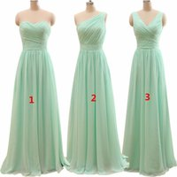 Wholesale Mint Chiffon Shirt - New Arrival Three Styles A Line Mint Green Long Chiffon A Line Pleated Bridesmaid Dress 2016 Under 50