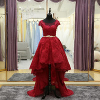 Wholesale High Low Couture Dresses - 2017 High Low Red Lace Prom Dresses Scoop Neck Sheer Actual Image Evening Gowns Cap Sleeve Couture Vestidos De Gala