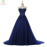 Wholesale Classic Embroidery Beaded Sweetheart - Exposed Boning Evening Dresses Cheap Plus Size Sexy Strapless Sleeveless Beaded Party Prom Dresses Navy Blue Lace Formal Evening Gowns