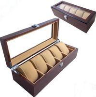 holzkiste pvc großhandel-Hochwertige Holzschloss Uhrenbox Brown Rechteckige PVC-Top Uhrenbox