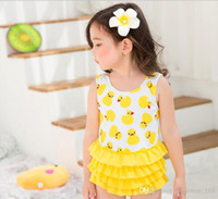 Wholesale Hot Bikinis Free Shipping - 2017 new arrivals hot selling girl kids bikini summer girl cartoon Yellow duck print One-piece skirt swimsuit free shipping