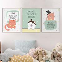 ingrosso telai di foto della parete del bambino-Moderno Kawaii Motivazionali Citazioni Animale A4 Art Print Poster Gatto Immagine Della Parete Carino Bambini Baby Room Decor Tela Senza Cornice