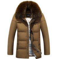 Wholesale Man Coat Fox - Wholesale- Nice New Fashion Pop Winter Coat Men Down Imitation Fox Fur Collar Male Thickening Plus Size Jacket White Duck Down Parkas HJ112
