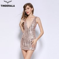 Wholesale Stretch Lace Dress Sleeves - TINDERALA 2017 sexy lace up Open side stretch club dress leeveless Deep-V sequin dress women party night club beach bodycon mini dresses