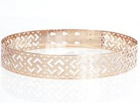 Wholesale Girdle Free Pattern - Spring and summer fashion geometric pattern hollow mesh full metal card ladies belt silver girdle
