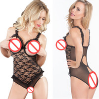 Wholesale Open Bust Nightwear - New Arrival Extremely Sexy Open Bust Crotch Lace Bodysuit Racy Babydolls Women Sexy Hollow Out Nightwear Lingerie