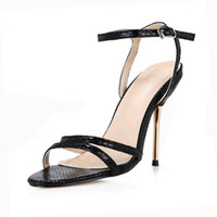 Mulheres Snake Shoes Sandals Buckle Correias Metal Heels Fivela Strap Partido Sapatos Real Image Bridal Sapatos De Casamento Cheap Modest Summer Sandal