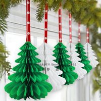 Wholesale Honeycomb Paper Decorations - 27cm 6pcs Handmade Honeycomb Christmas Trees Tissue Paper Trees Centerpiece Table Center For Christmas Decoration