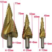 титановый конус оптовых-4-12 мм 4-20 мм 4-32 мм HSS 4241 стали большой шаг конус Титана с покрытием металла сверло вырезать набор инструментов отверстие Cutter Оптовая