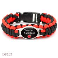 Wholesale Teachers Day Gifts Wholesale - (10 PCS lot) Teach Paracord Survival Bracelet Math Teacher Assistant Paracord Survival Friendship Bracelets Apple Pink Black Red Teal Blue