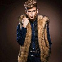 homem de casaco de peles branco venda por atacado-Atacado- 2016 novos homens de inverno colete de pele moda com capuz de pele grossa homens com capuz coletes sem mangas Casaco Outerwear masculino clothing casacos