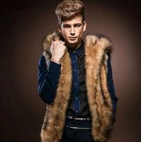 erkek kürk yelek toptan satış-Toptan-2016 Yeni Kış Erkek Kürk Yelek Moda Hoodie Kalın Kürk Kapşonlu Erkekler Yelekler Kolsuz Ceket Giyim Erkek Giyim Mont
