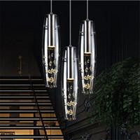 bar minimalista venda por atacado-Novo restaurante personalidade Criativa lâmpada LED lustre de cristal moderno e minimalista bar lâmpada de mesa refeição lâmpada pendurada