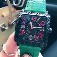 Wholesale Girls Fashion Imported - Fashion Dress Women Men watch luxury Watches Square Number Dial Diamond Bezel Leather Strap Import Quartz Movement Wristwatch for lady girl