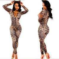 Wholesale Jumpsuits Women Leopard - Wholesale- Sexy Bodycon Women Jumpsuits and Rompers Overalls Open Front Leopard print catsuit Club Catsuit Woman Macacao Feminino A6961