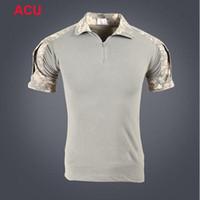 ücretsiz camo kıyafeti toptan satış-Kısa Kollu Savaş Gömlek Kamuflaj Kurbağa Polo Gömlek Savaş Camo Giyim Açık Avcılık Savaş Gömlek Ücretsiz Kargo Amerika'ya