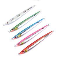Wholesale Led Fishing Lures - 10PC Jigging Lead Fish 60G 12CM Metal Jig Fishing Lure 5 Colors Paillette Knife Wobbler Artificial Hard Bait