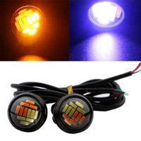 Blanco Ámbar Llevado Ojo Baratos-4pcs 23mm LED de doble bombilla de color blanco / ámbar 4014 12 SMD Eagle Eye 12V LED de luz de coche estilo DRL
