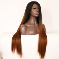 Wholesale Perruque Lace Wigs - Straight Brown Lace Front Wig Ombre Varnish Fake Hair Perruque Synthetic Women Peluca Sintetica Lace Frontal Naturel Hair Peruca