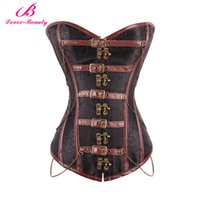 Lover Beauty Brown Corset Plus Размер Сталь Бородатая талия Cincher Корсеты Steampunk Overbust Корсаж Bustier Sexy Corselete