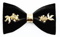 Wholesale Silk Tie Gift Box - 2018 Bow knees men original design handmade Chinese gold goldfish show wuo groom best man bow gift box