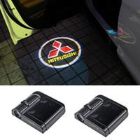 coches eclipse de mitsubishi al por mayor-Luces del logotipo de la puerta del coche Led para Mitsubishi Asx Lancer 10 9 Outlander Pajero Sport L200 Galant Carisma Grandis Eclipse Montero