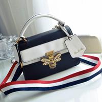 Wholesale Padlock Blue - women padlock pearl bag fringe shoulder strap bag designer bee buckle handbags leather crossbody messenger bags famous brands bags