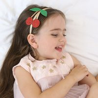 Wholesale Cherry Shiny - 6Pcs Lot Girls Shiny Cherry Leaf Design Hairband Fruit Princess Hair Bands Hair Hoop Headband Kids Hair Accessories Beautiful HuiLin BKU02