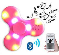 toca luzes venda por atacado-Bluetooth Música Spinner Sem Fio Speaker Fidget Spinner Descompressão Brinquedo Levou Luz EDC Plástico Fidget Brinquedos Mão Spinner Som Spinning Top