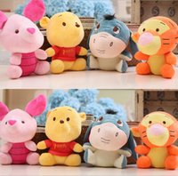 Wholesale Piglet Toys - 19cm pooh bear and Friend Kawaii Pink Piglet pig tiger Eeyore donkey stuffed gift toys boys girl's brithday