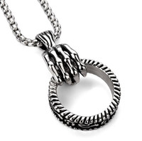Wholesale White Skeleton Hand Necklace - Popular new skeleton hand holding hoops hip hop necklace pendant, titanium steel pendant necklace