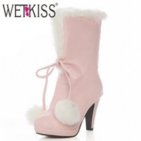 Wholesale Heel Balls - Wholesale-Big size 34-43 Sweet Fur Ball Top knot Warm White fur Boots High Heels snow boots for women platform short boots Winter Shoes