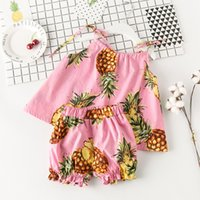 Wholesale Toddler Girls White Tank Top - Children Clothes Summer New Korean Girls Printed ananas tank Suit tops shorts pants set Toddler Outfits baby cute Clothing Kids Wear A402