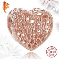 Wholesale Clear Flat Beads - BELAWANG Rose Gold Charms 925 Sterling Silver Big Hole Beads Hollow Heart Charm Beads with Clear CZ fit Pandora Bracelet&Necklaces Jewelry