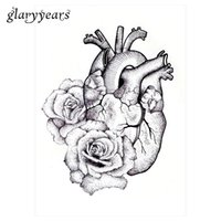 Wholesale Tattoos Designs Sketches - Wholesale-1pc Temporary Body Art Tattoo Sticker KM-064 Fake Sketch Heart Rose Flower Decal Pattern Design Waterproof Tattoo for Cool Women