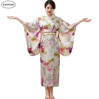 Wholesale Korean Hanbok Woman - Wholesale- Japanese Silk Robes Women Bathrobes Long Dressing Gown Flora Silk Pajamas Robe Femme Korean Hanbok Long Japanese Kimono