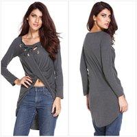 Wholesale Grey Collared Shirt Woman - Wholesale- 2016 deep V-collar fall T-shirts irregular hollow out casual shirts fashion cotton t shirts women's long t shirt grey top tees