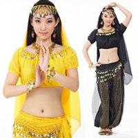 Wholesale White Indian Veil - 2017 New Fashion Belly Dance Costumes Suit 5PCS (Veil+Head accessories+Top+Pant+Belt) Indian Dancing Wear Clothing 12 Colors
