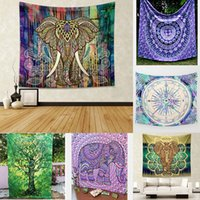 ingrosso copriletti elefante-Elephant Mandala Hippie Wall Hanging Tapestry Gypsy 2019 Più nuovo copriletto Throw Yoga Mat Tovaglia Home Decor 210x150 cm