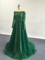 Wholesale Bamboo Tulle - 2017 Green Elegant Beaded Evening Dresses with Off-shoulder Neckline Long Sleeves A-Line Party Gowns Floor Length